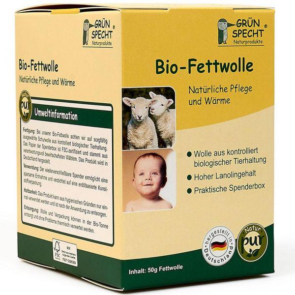 Grün Specht Bio-Fettwolle