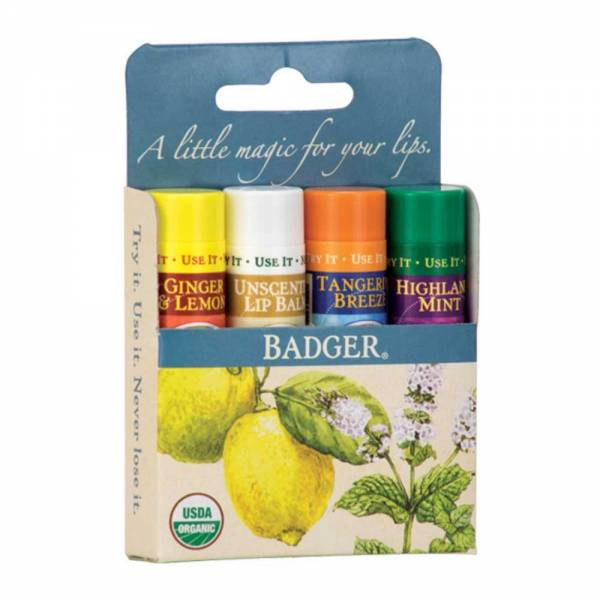 Badger Blue Classic Lip Balms Set