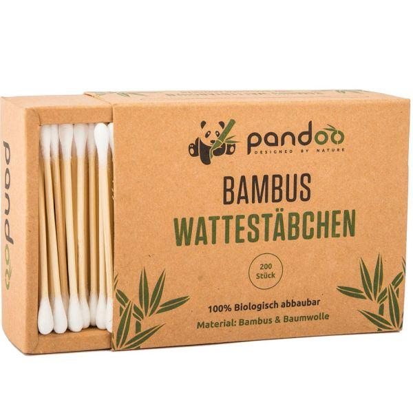 pandoo Bambus-Wattestäbchen Natur 200 Stück