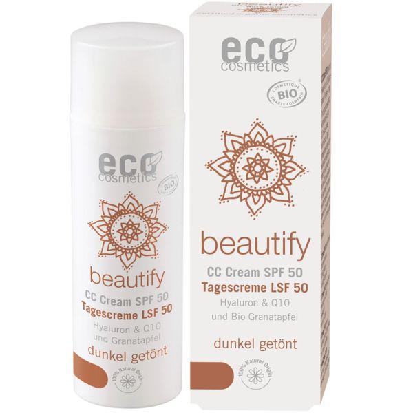 Eco Cosmetics CC Creme getönt LSF 50 dunkel