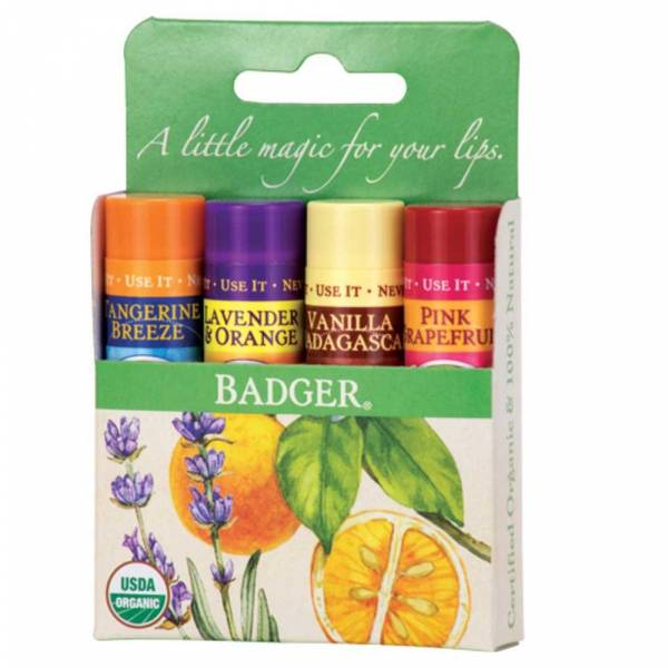 Badger Green Classic Lip Balms Set