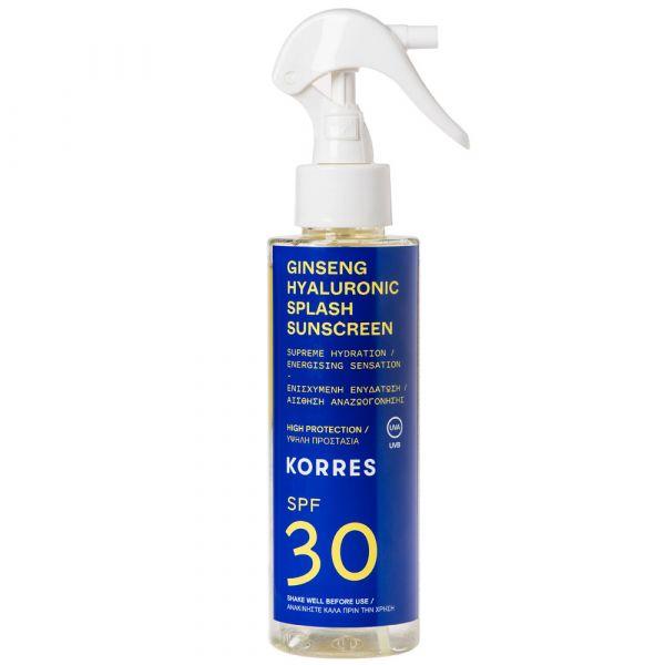 Korres GINSENG HYALURONIC SPLASH  2-Phasen-Sonnenschutzspray für Gesicht und Körper SPF30