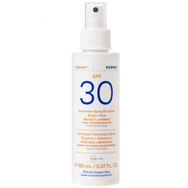 Korres YOGHURT Sonnenschutz Sprüh-Emulsion für Gesicht & Körper SPF30