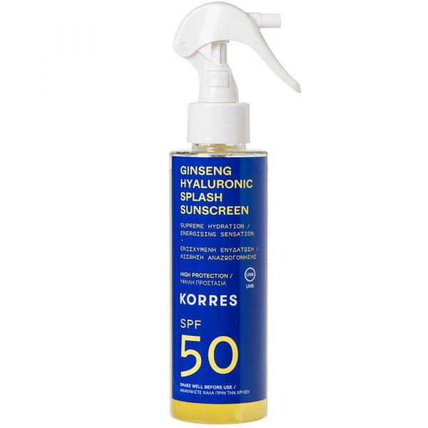 Korres GINSENG HYALURONIC SPLASH  2-Phasen-Sonnenschutzspray für Gesicht und Körper SPF50