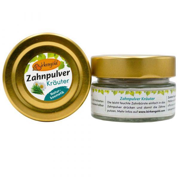 Birkengold Zahnpulver Kräuter Glas
