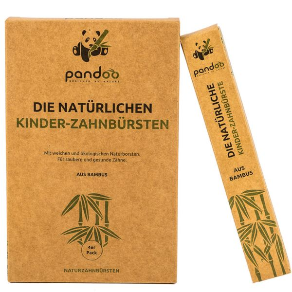 pandoo Bambus-Kinderzahnbürsten