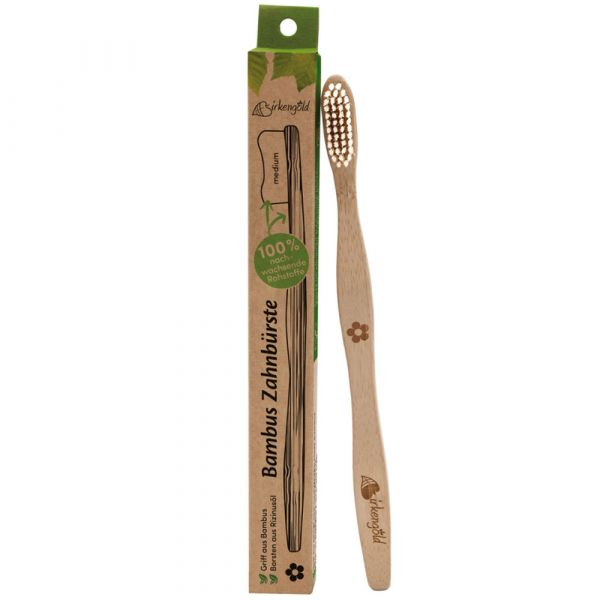 Birkengold®  100% nachhaltige Bambuszahnbürste mit Rizinusölborsten Erwachsene