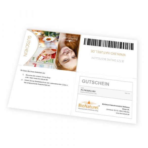 BioNaturel Geschenk Gutschein ausdrucken 20 EURO